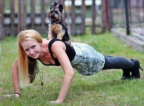 Blonde Woman, Yorkie, Dog, Workout, Push Ups, Smile