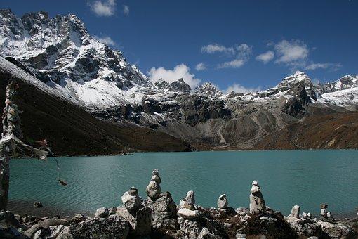 Mountain, Nepal, Lake, Snow