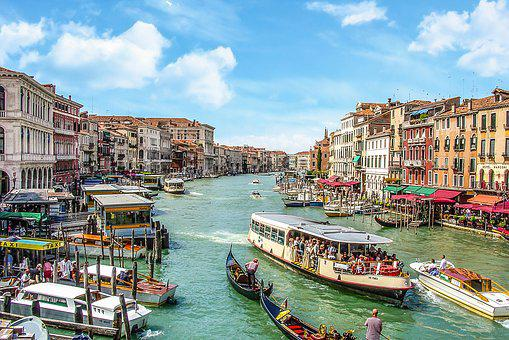 Venice, Grand, Canal, Tourist, Boat, Water, Italy