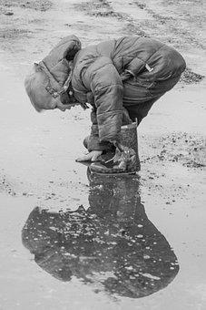 Boy, Rain, Water, Reflection, Shadow, Winter, Coat, Mud