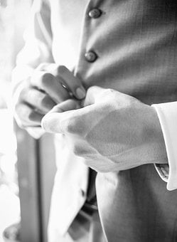 Man, Costume, Wedding, Hands, Balack And White, Buttons