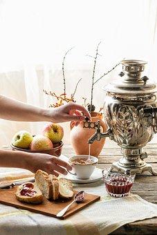 Samovar, Breakfast, Table, Tea, A Sandwich, Morning
