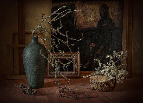 Still Life, Art, Branch, Paint, Vase, Artistic, Oil