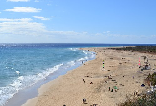 Fuerteventura, Canary Islands, Spain, Beach, Sea, Morro