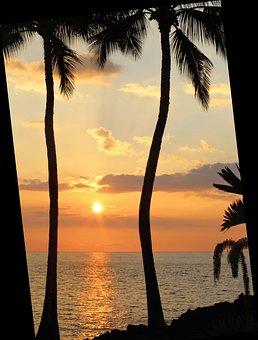 Sunset, Hawaii, Hawaiian Sunset, Beach, Ocean, Vacation