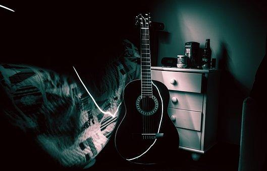 Guitar, Room, Music, Lightpainting, Light, Bed, Dark