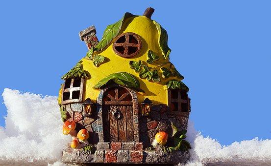 House, Fairy Tale, Fantasy, Snow, Blue Sky, Cottage