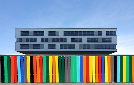 Office Building, Fence, Facade, Building, Architecture