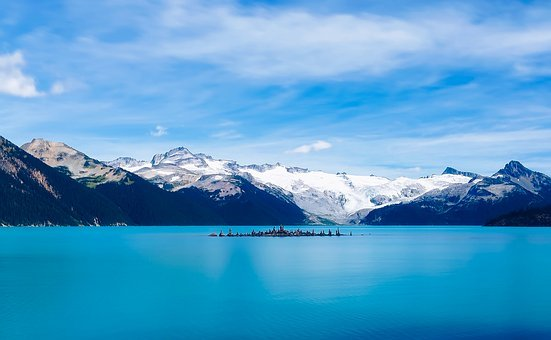 Garibaldi Lake, Water, Mountains, Sky, Clouds, Island