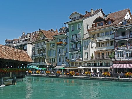 Switzerland, Thun, Downtown, Aare, Water, Turquoise