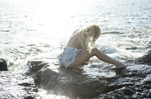 Mermaid, Thoughtful, Girl, Woman, Young, Hair, Fairy