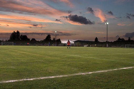 Football Match, Twilight, Floodlight Game, Goalkeeper