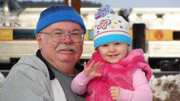 Grandpa, Granddaughter, Snow, Fun, Happy, Grandparent