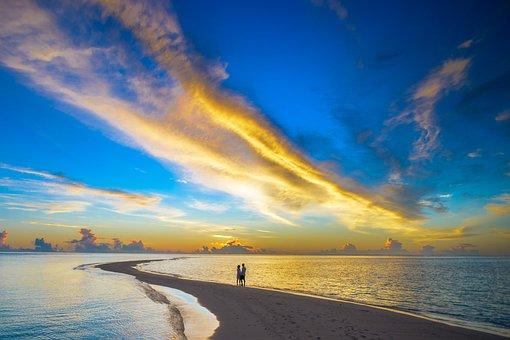 Sunset, Couple, Cloud, Island, Beach, Travel, Sky, Sea