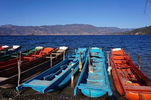Lugu Lake, Caochuan, Travel, Ship, Square, Landscape