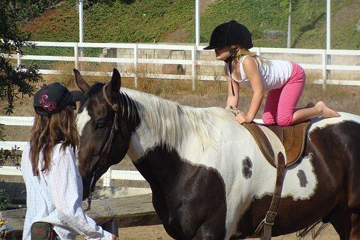 Learning To Ride, Horseback, Child, Rider, Girl, Lesson