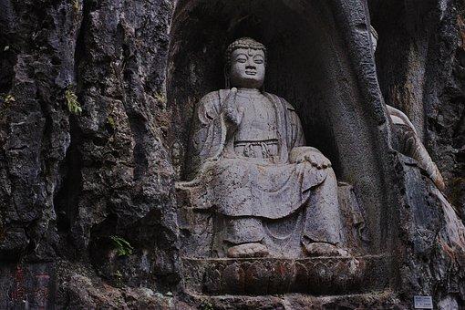 Hangzhou, Lingyin Temple, Klippe, Stone Carving, Statue