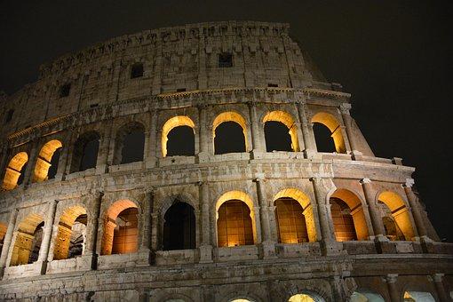 Rome, Kolosseum, Night, City, Lit, Dark