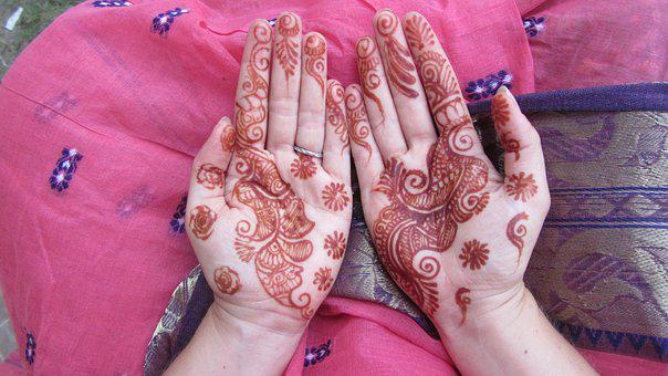 India, Wedding, Hands, Henna Tattoo, Pink, Marriage