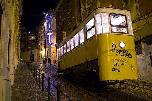 Lisbon, Transport, Night, Graffiti, Tram, Hill, Old