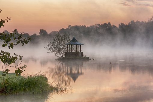 Lake, Dawn, Water, Pond, Tranquility, Reflection, Fog