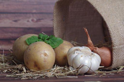 Potatoes, Potato, Garlic, Onion, Peel Potatoes, Food