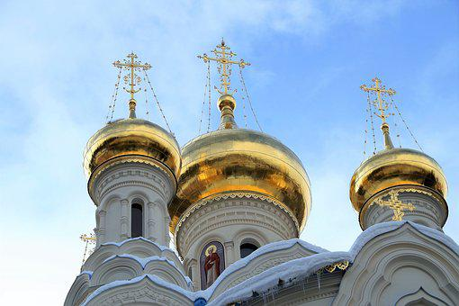 The Russian Orthodox Church, Dome, Golden, Radiant