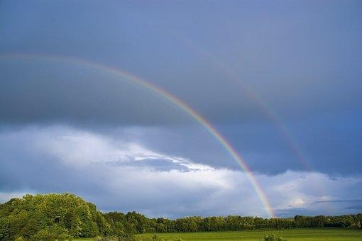 Rainbow, Clouds, Sky, Nature, Landscape
