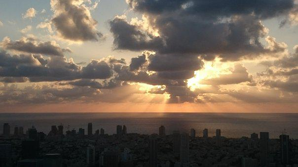 Sunset, City, Panorama, Israel, Skyline