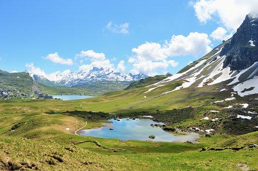 Switzerland, Mountains, Snow, Lake, Mountainous, Sky