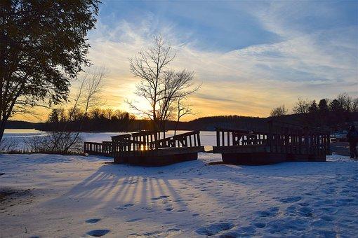 Sunset, Winter, Tree, Lake, Shadows, Sky, Nature
