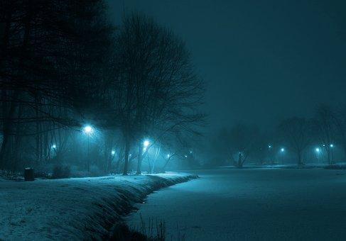 Park, Night, Winter, The Fog, Lamp, Dark, Municipal