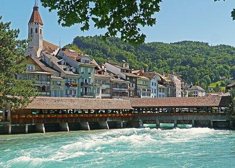 Switzerland, Thun, Aare, Alps River, Weir, Forward