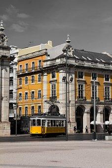 Lisbon, City, Transport, Tram, Yellow, Urban