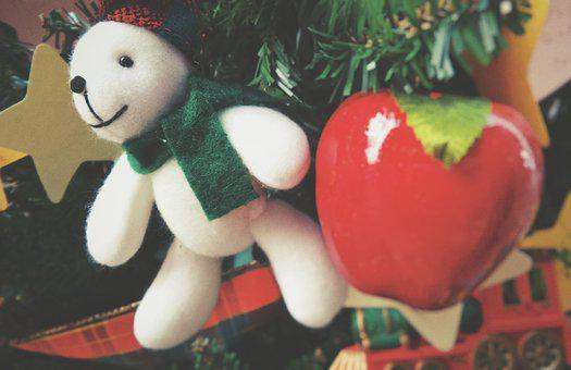 Christmas, Tree, Decoration, Bear, Apple, White, Red
