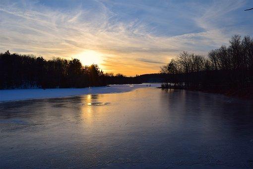 Sunset, Lake, Winter, Trees, Shadows, Sky, Nature