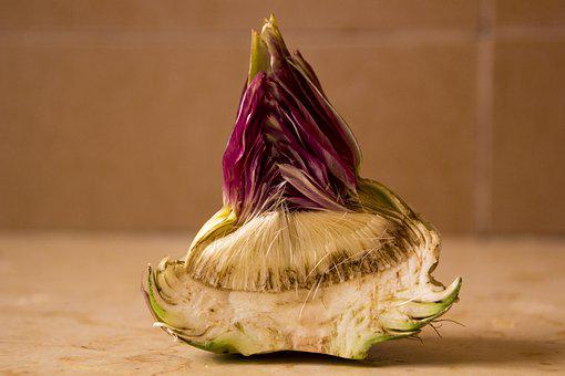 Artichoke, Cut Artichoke, Vegetable, In Two, Half