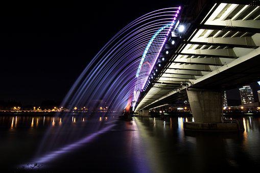 Night View, River, Daejeon Expo Bridge, Reflect