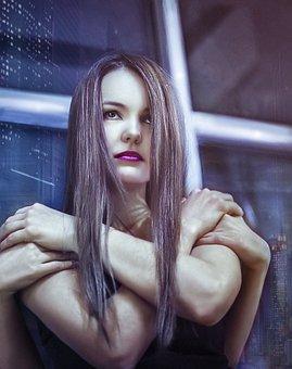 Girl, Portrait, Figure, City, Window, Person, Eyes