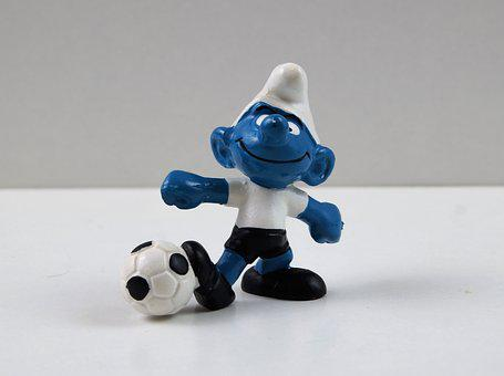 Smurf, Smurfs, Football Smurf, Figure, Toys, Decoration