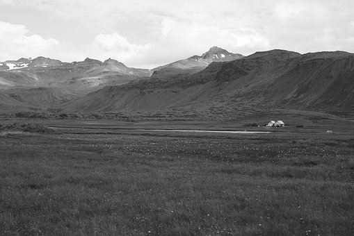 Iceland, Mountains, House, Black And White, Nature