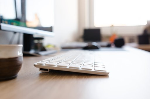 Computer, Office, Table, Keyboard, Wood, Work, Business