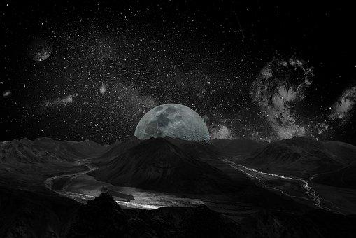Moon, Universe, Space, Milky Way, Background, Galaxy