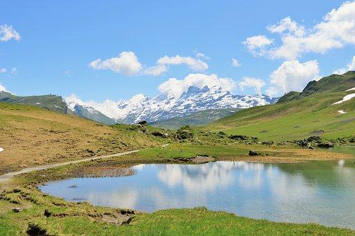 Switzerland, Mountains, Valley, Bergsee, Nature
