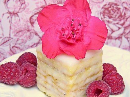 Petit Four, Small Cakes, Bisquit, Raspberries, Azalea