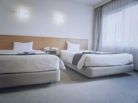 Hotel, Room, Twin, Beds, Blue Room, Blue Bed