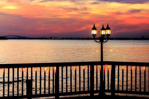 Bay, Light Post, Landscape, Water, Sky, Travel, Nature