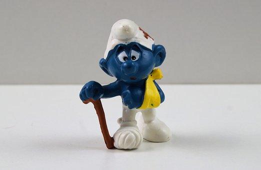 Smurf, Smurfs, Sick Smurf, Figure, Toys, Decoration