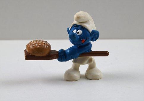 Smurf, Smurfs, Baker Smurf, Figure, Toys, Decoration