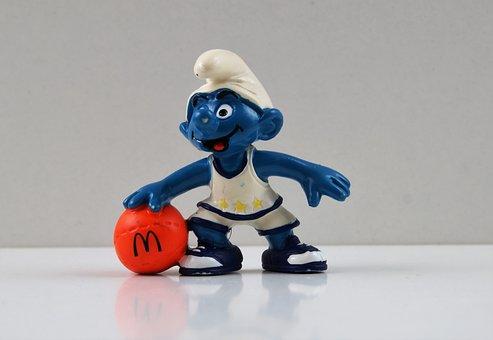 Smurf, Smurfs, Basketball Smurf, Figure, Toys